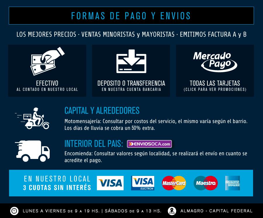 Formas de pago y envíos, promociones, horario de atención